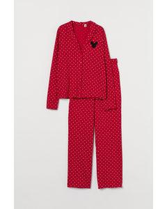 Pyjamas I Trikå Röd/musse Pigg