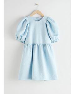 Jacquard Mini Gathered Dress Light Blue