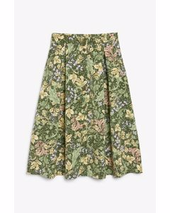 Pleated Midi Skirt Green Floral