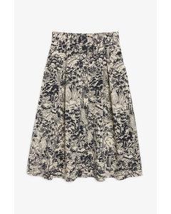 Pleated Midi Skirt Black And Beige