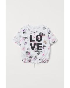 Shirt mit Tunnelzug Weiß/Schmetterlinge