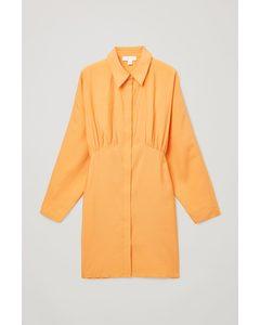 Gathered Shirt Dress Light Orange