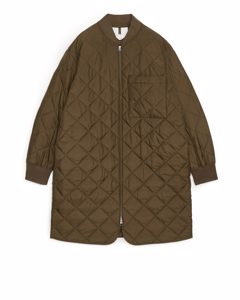 Quilted Long Jacket Khaki Green