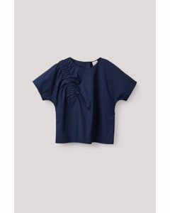 Elastic-detailed Cotton Top Navy
