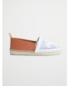 Embroidered Espadrilles  White/tan