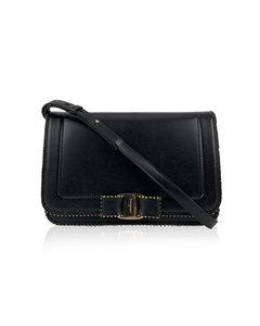 Salvatore Ferragamo Black Leather Vara Rw Bow Flap Mint Shoulder Bag