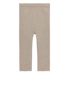 Knitted Cropped Leggings Oat Melange