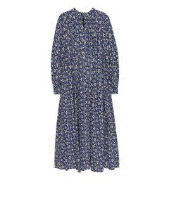 Floral Crepe Dress Blue/multicolour