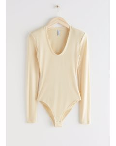 Fitted Padded Shoulder Bodysuit Light Yellow