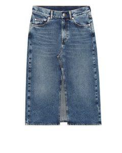 Front-split Denim Skirt Blue