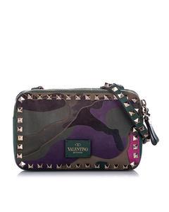 Valentino Rockstud Camouflage Leather Crossbody Bag Green