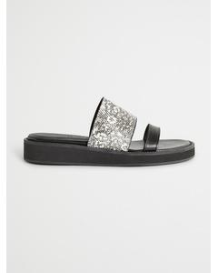 Mimeo Lizard Print Slip-on Sandal Black