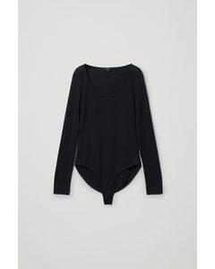 Lyocell Open Neck Long-sleeve Bodysuit Black