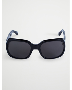 Croc And Acetate Square Sunglasses Black