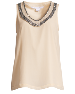 Ade Crystal-embellished Silk-chiffon Top Beige