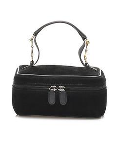 Gucci Horsebit Suede Vanity Bag Black