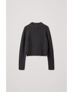 Recycled Cashmere-wool Mix Cropped Jumper Dark Grey