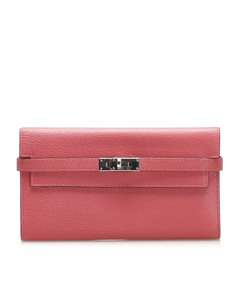 Hermes Kelly Leather Wallet Pink