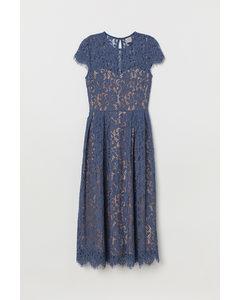 Kanten Midi-jurk Donker Duifblauw