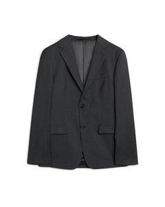Wool Plain Weave Blazer Grey