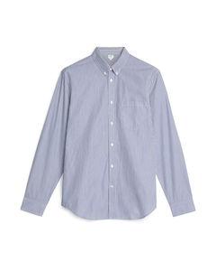 Shirt 3 Pin Striped Poplin Blue