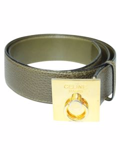 Olive Green Pebbled Leather Waist Belt