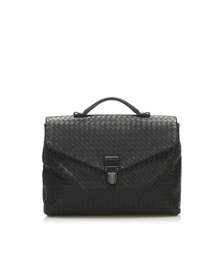 Bottega Veneta Intrecciato Leather Business Bag Black