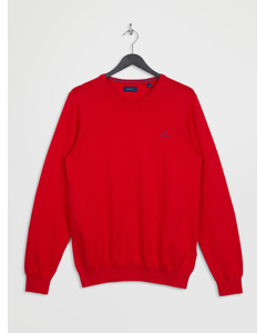 Stretch Cotton Contrast Crew Bright Red