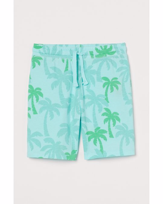 H&M Printed Jersey Shorts Turquoise/palm Trees