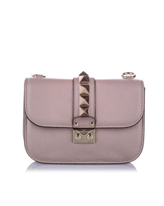 Valentino Small Rockstud Glam Lock Crossbody Bag Purple