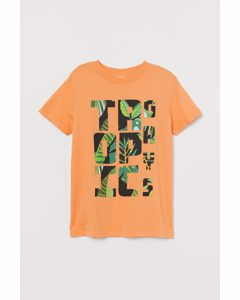 T-Shirt mit Druck Gelb/Tropic Days
