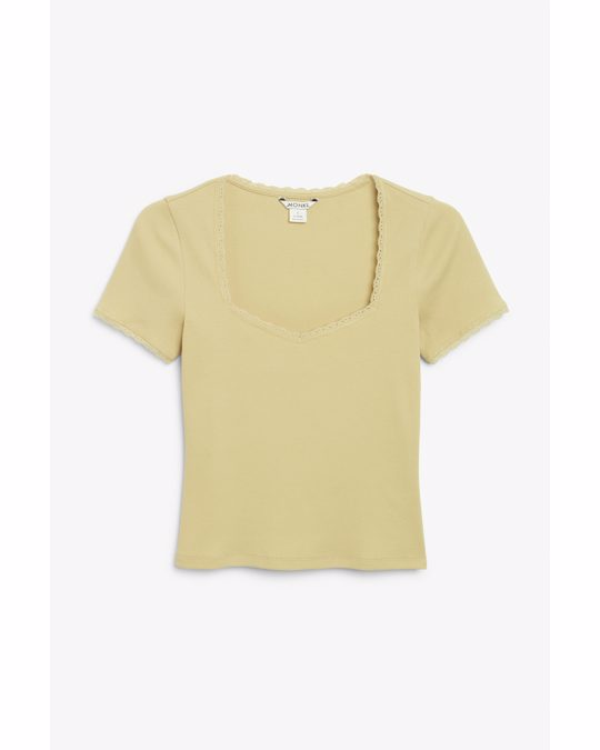 Monki Ribbed Top With Lace Trims Dark Beige