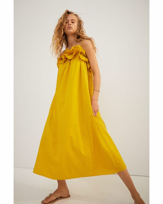 H&M Flounce-trimmed Dress Yellow