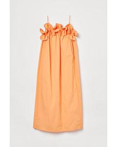 Kleid mit Volants Orange
