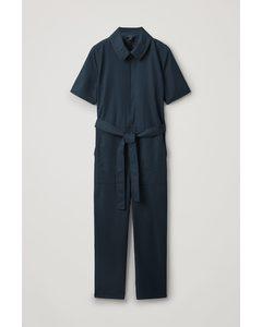 Belted Cotton Jumpsuit Black