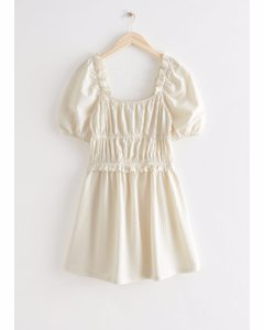 Voluminous Puff Sleeve Mini Dress Cream