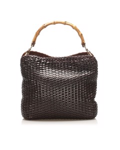 Gucci Bamboo Woven Leather Satchel Black