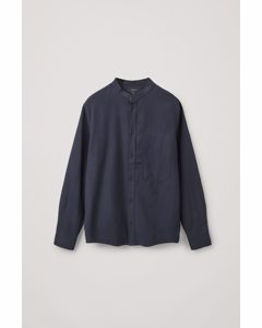 Regular-fit Collarless Shirt Navy