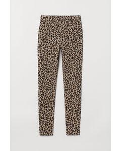 Super Skinny High Jeans Beige/Leopardendruck