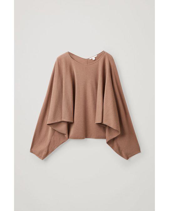 COS Batwing Merino Wool Top Light Brown