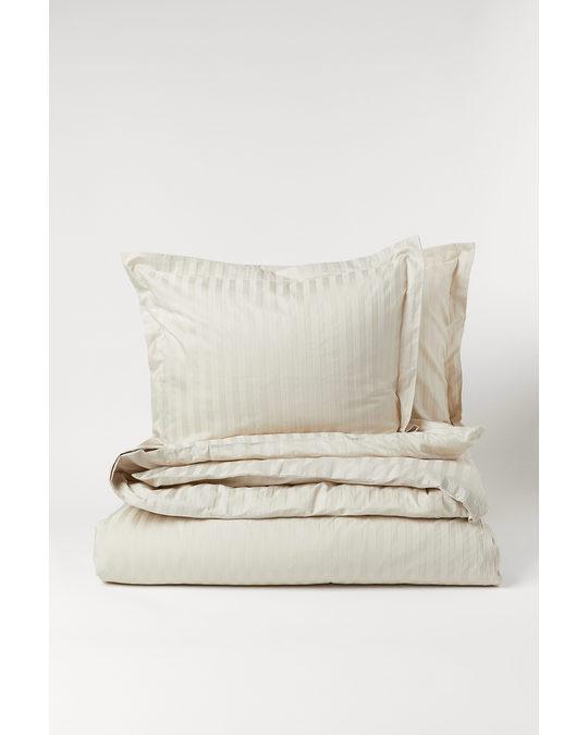 H&M HOME Cotton Sateen Duvet Cover Set Light Beige