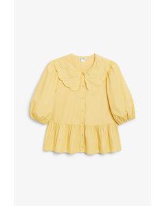 Flounce Hem Blouse Yellow