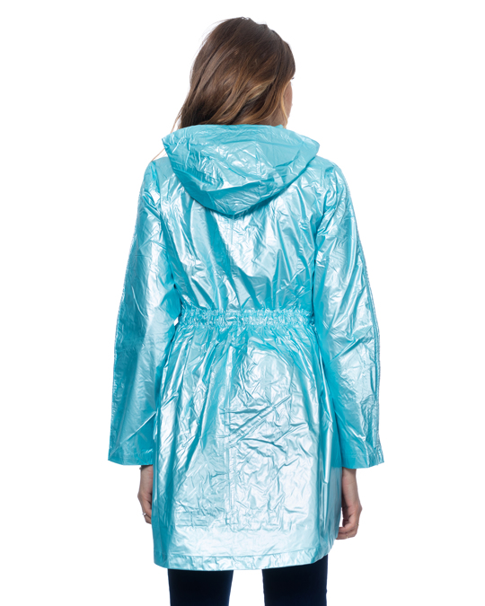 Tantra Long Metallic Jacket With Hood, Elastic Waist With Strings And Side Pockets