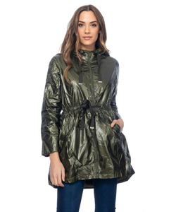 Long Metallic Jacket With Hood, Elastic Waist With Strings And Side Pockets