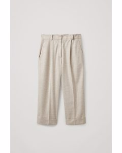 Wool Mix Pleated Trousers Off-white