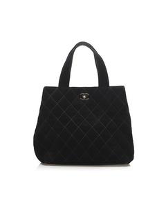 Chanel Wild Stitch Cc Suede Leather Satchel Black