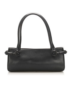 Gucci Horsebit Leather Shoulder Bag Black