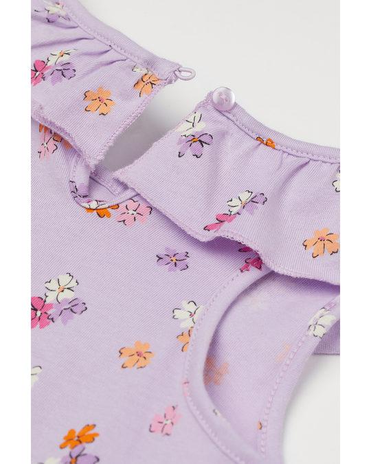 H&M Patterned Playsuit Light Purple/floral