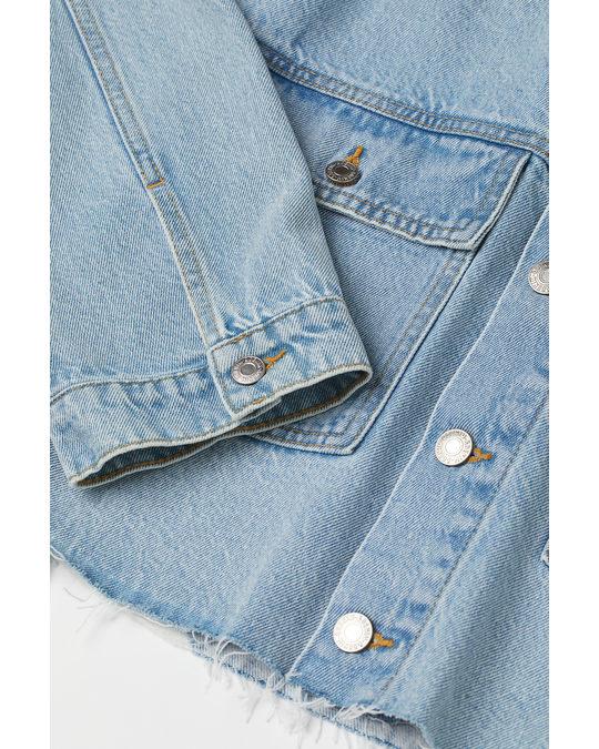 H&M Boxy Denim Jacket Light Denim Blue