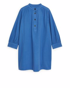Gathered Denim Dress Blue